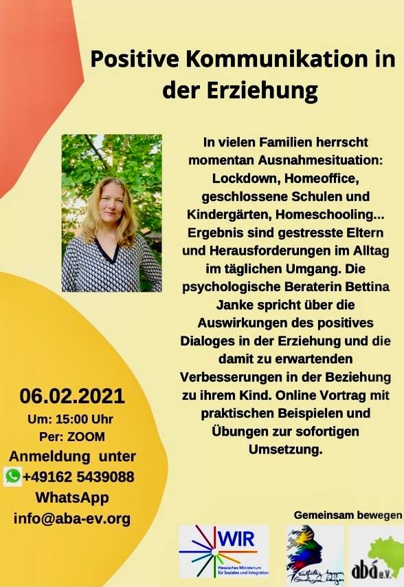 Positive Kommunikation in der Erziehung am 6.2.2021